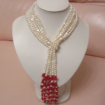 #PS60 Triple strand of pearl and branch coral lariat