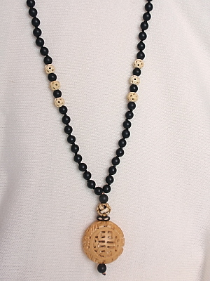 Ps694 30 Black Agate Necklace With Bone Beads The Island Pearl