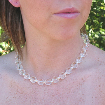 "#WM41 16"" Faceted crystal necklace accented with pearls"