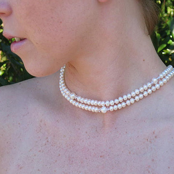 #WM47 Pearl and crystal lariat
