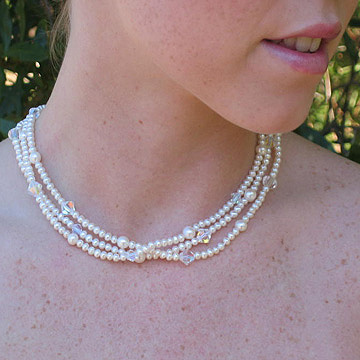 #WM51 Triple strand pearl choker with AB crystals