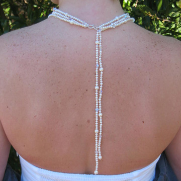 #WM51B Pearl and crystal lariat