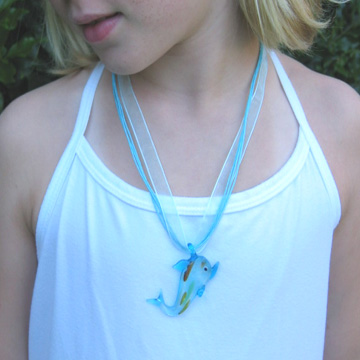 #F111 Glass dolphin necklace